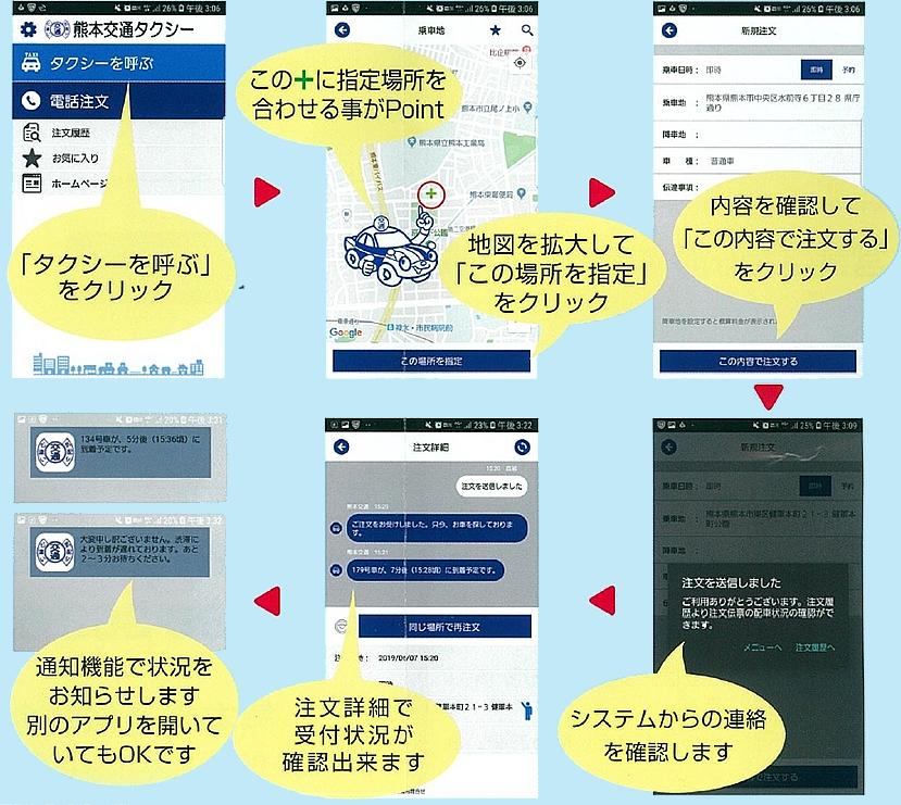 熊本交通アプリからの配車の流れ